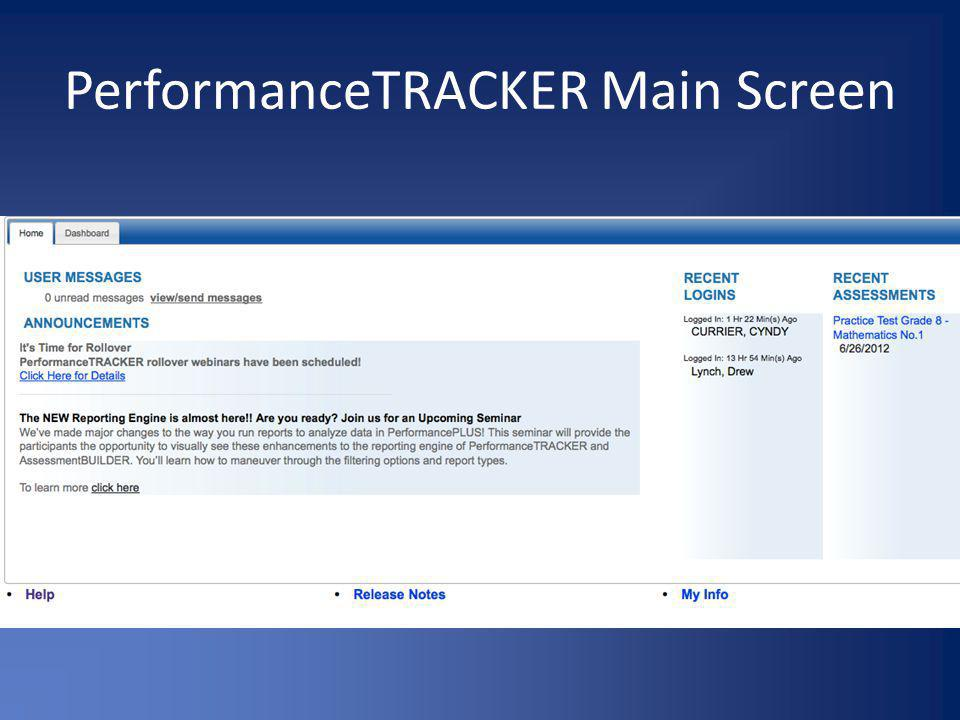 PerformanceTRACKER Main Screen