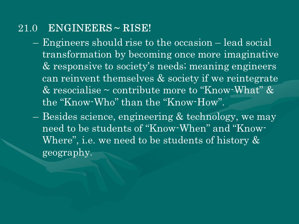 21.0 ENGINEERS ~ RISE!
