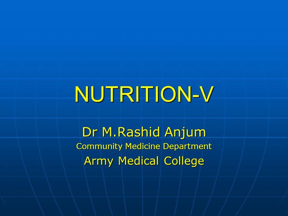 Dr M.Rashid Anjum Community Medicine Department Army Medical College