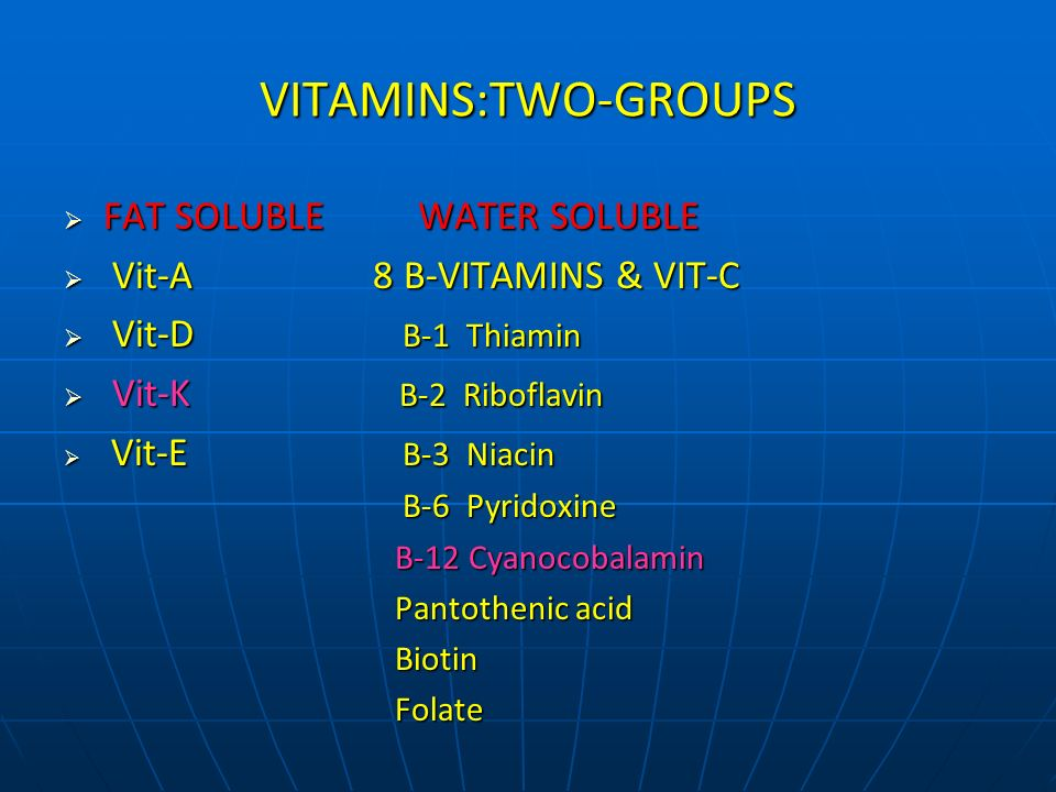 VITAMINS:TWO-GROUPS FAT SOLUBLE WATER SOLUBLE