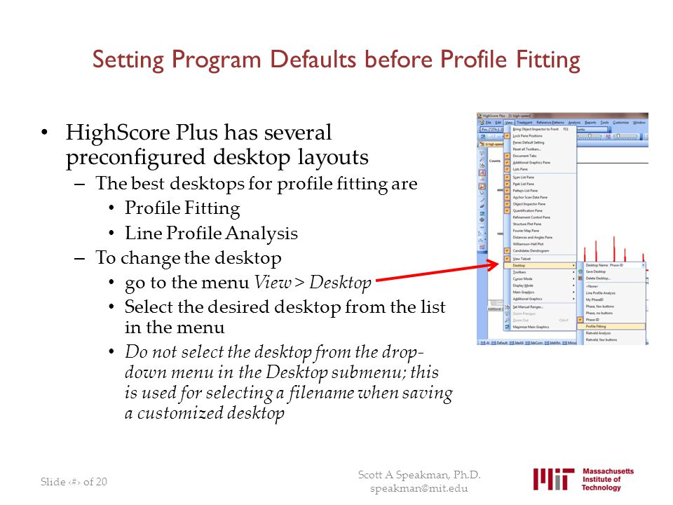 Setting Program Defaults before Profile Fitting