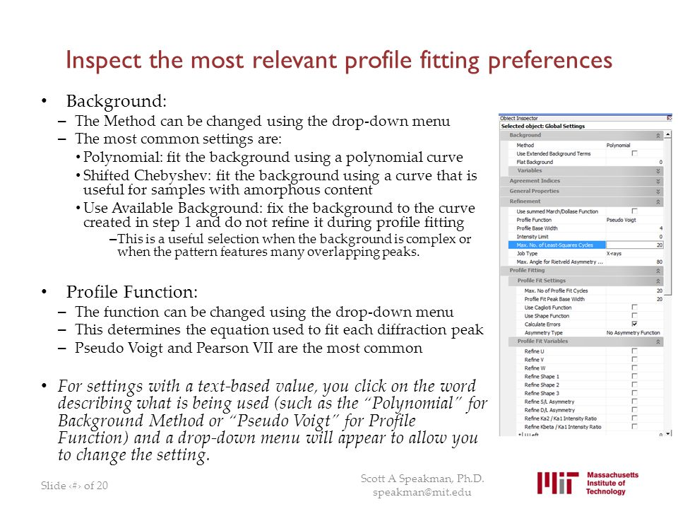 Inspect the most relevant profile fitting preferences