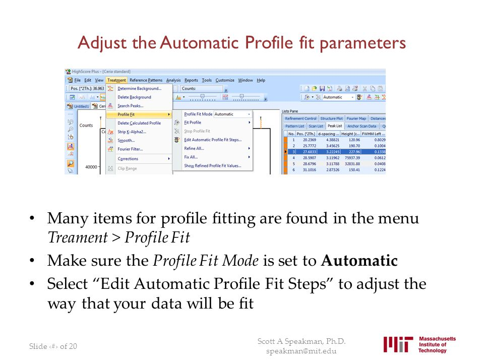 Adjust the Automatic Profile fit parameters