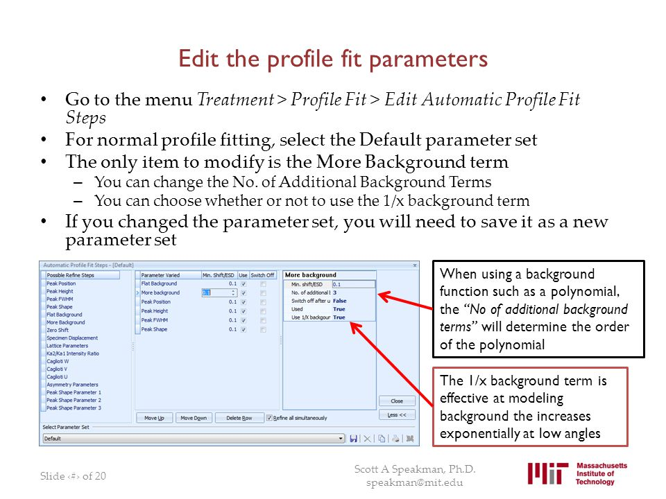 Edit the profile fit parameters