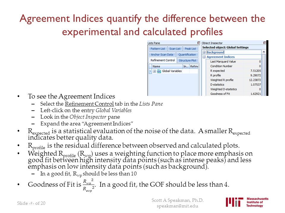 Agreement Indices quantify the difference between the experimental and calculated profiles
