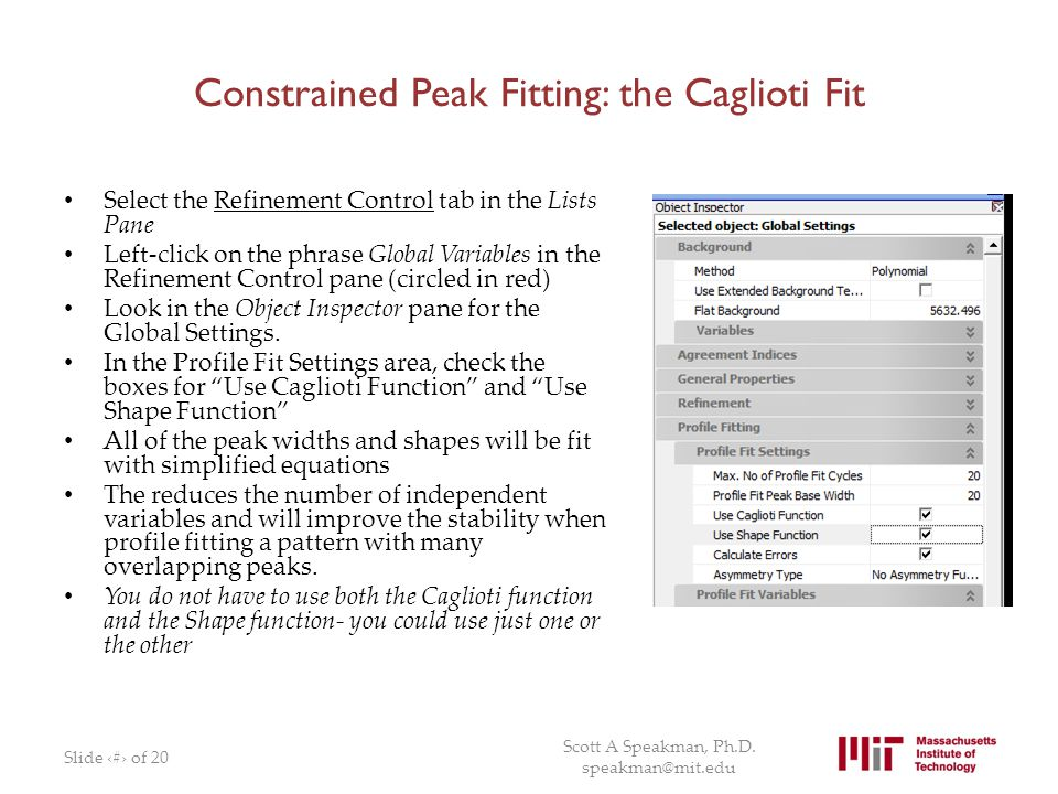 Constrained Peak Fitting: the Caglioti Fit