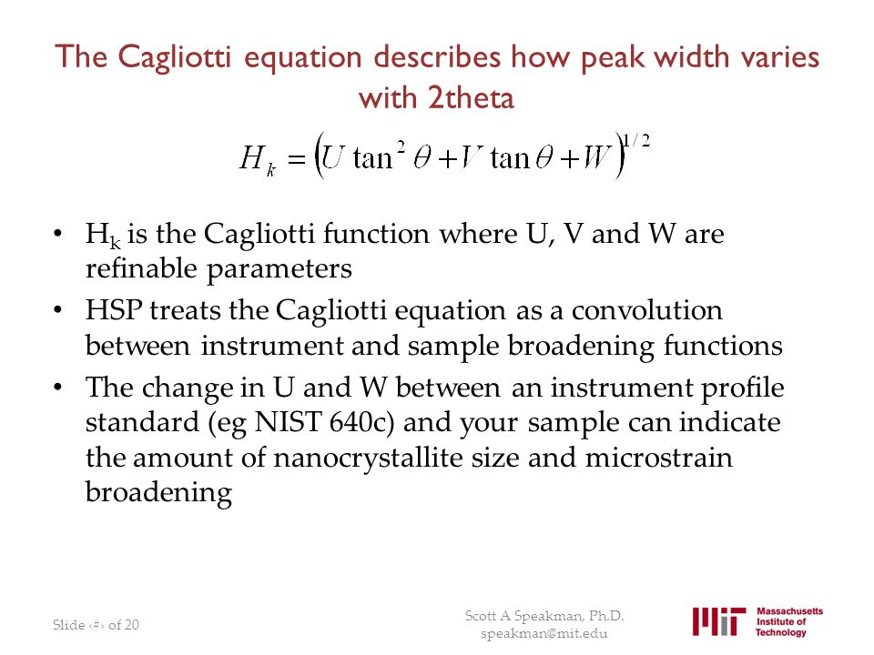 The Cagliotti equation describes how peak width varies with 2theta