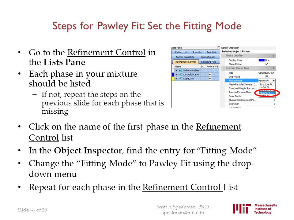 Steps for Pawley Fit: Set the Fitting Mode