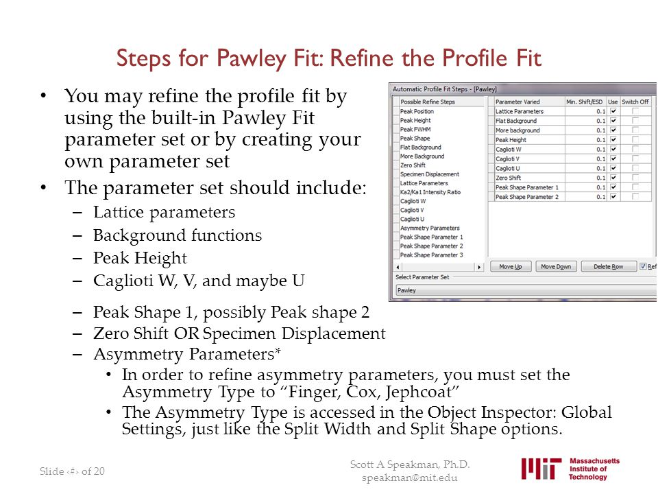 Steps for Pawley Fit: Refine the Profile Fit