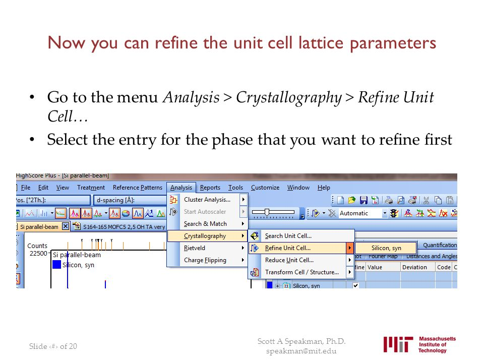 Now you can refine the unit cell lattice parameters