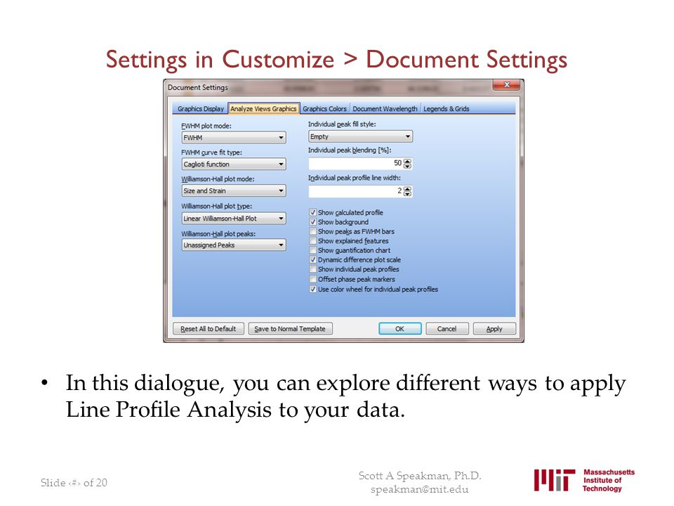 Settings in Customize > Document Settings