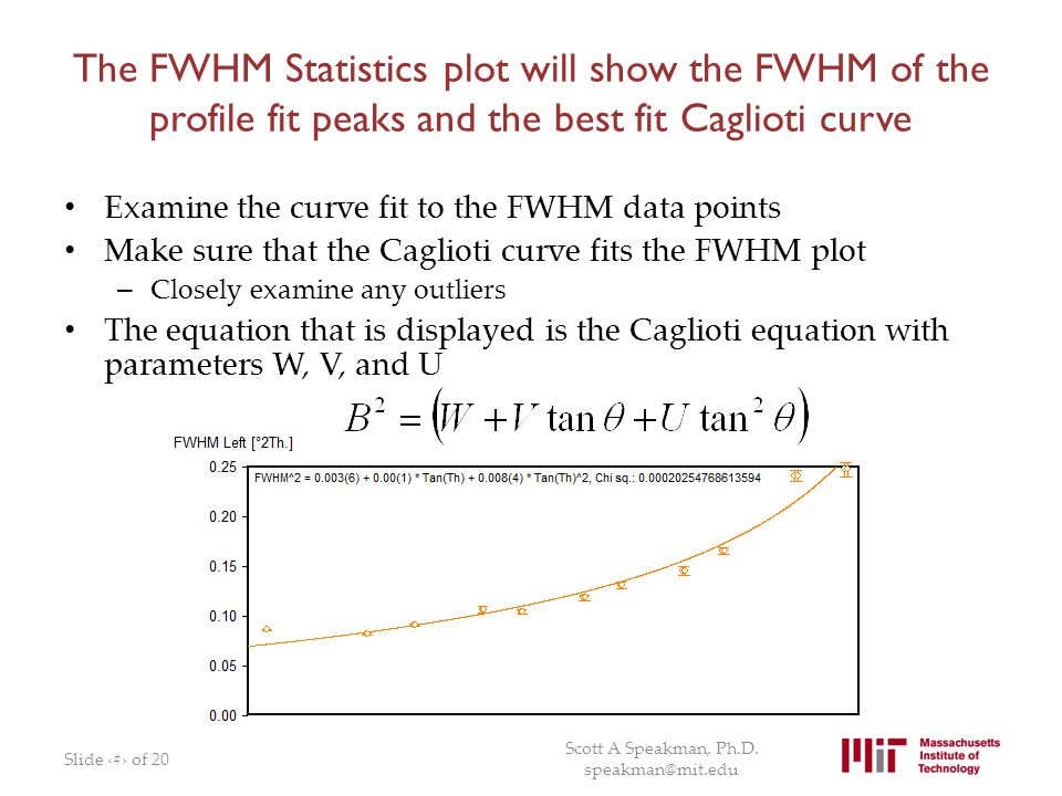 The FWHM Statistics plot will show the FWHM of the profile fit peaks and the best fit Caglioti curve
