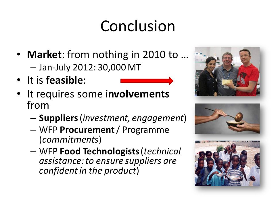 Conclusion Market: from nothing in 2010 to … It is feasible: