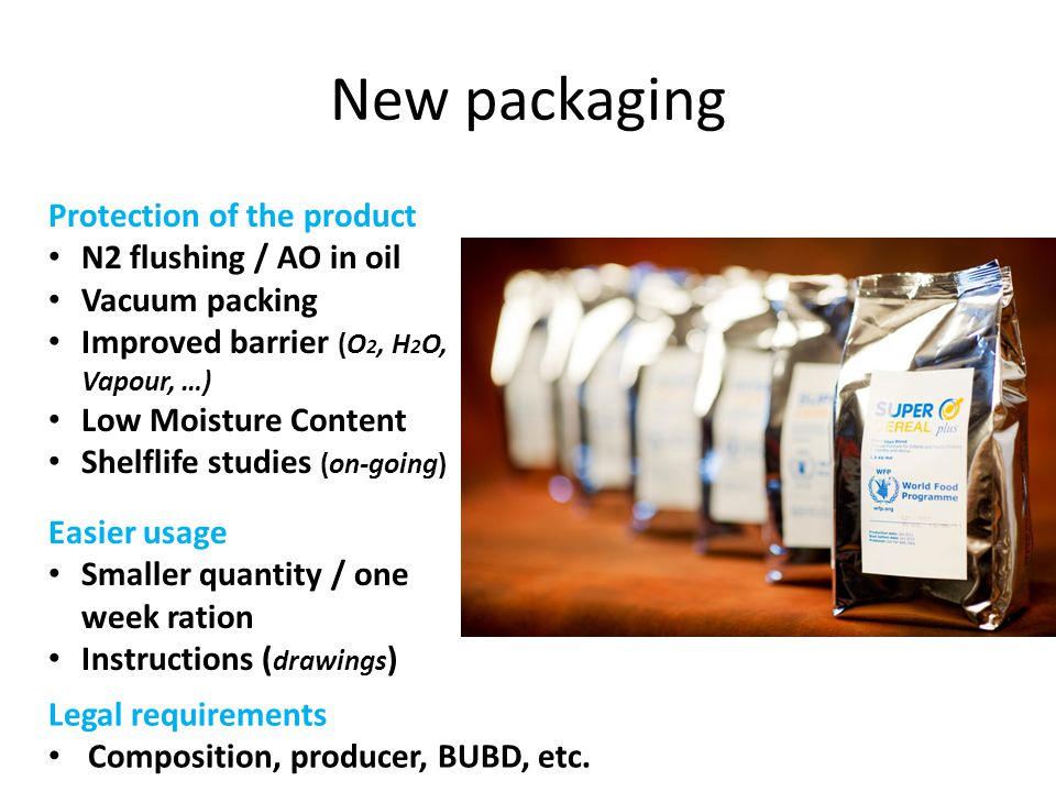 New packaging Protection of the product N2 flushing / AO in oil
