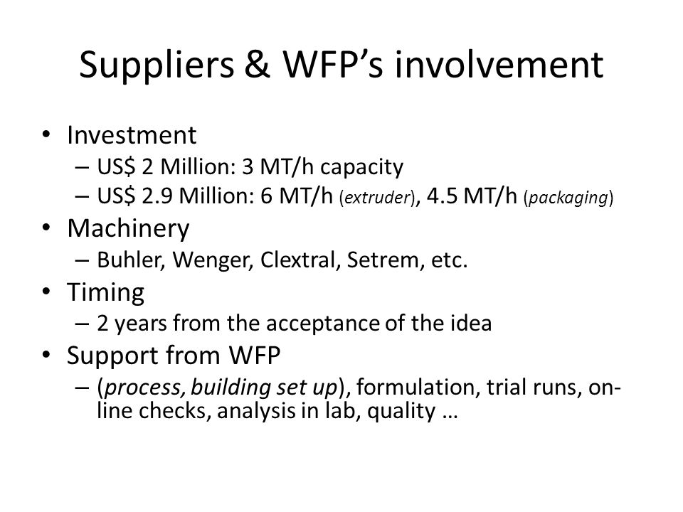 Suppliers & WFP's involvement