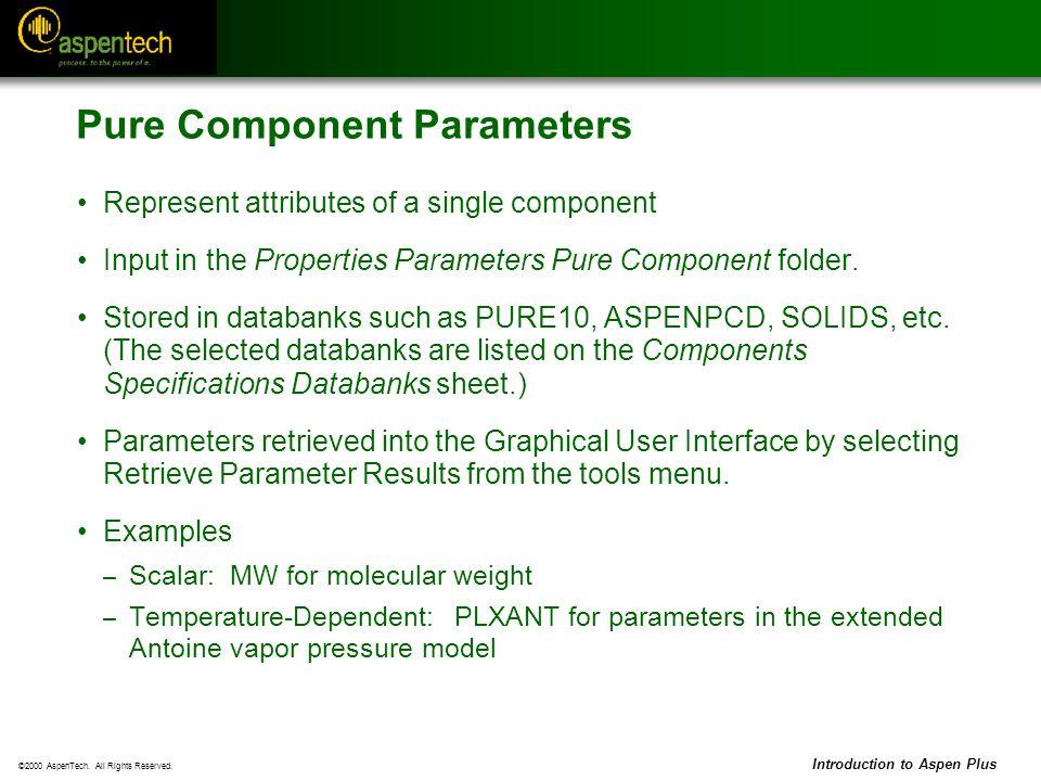 Pure Component Parameters