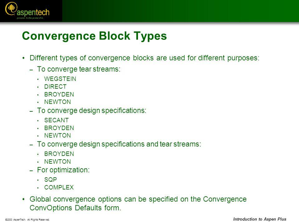 Convergence Block Types