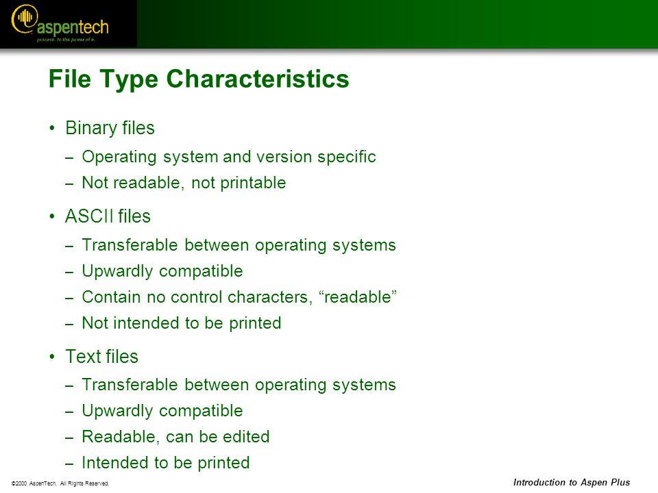 File Type Characteristics