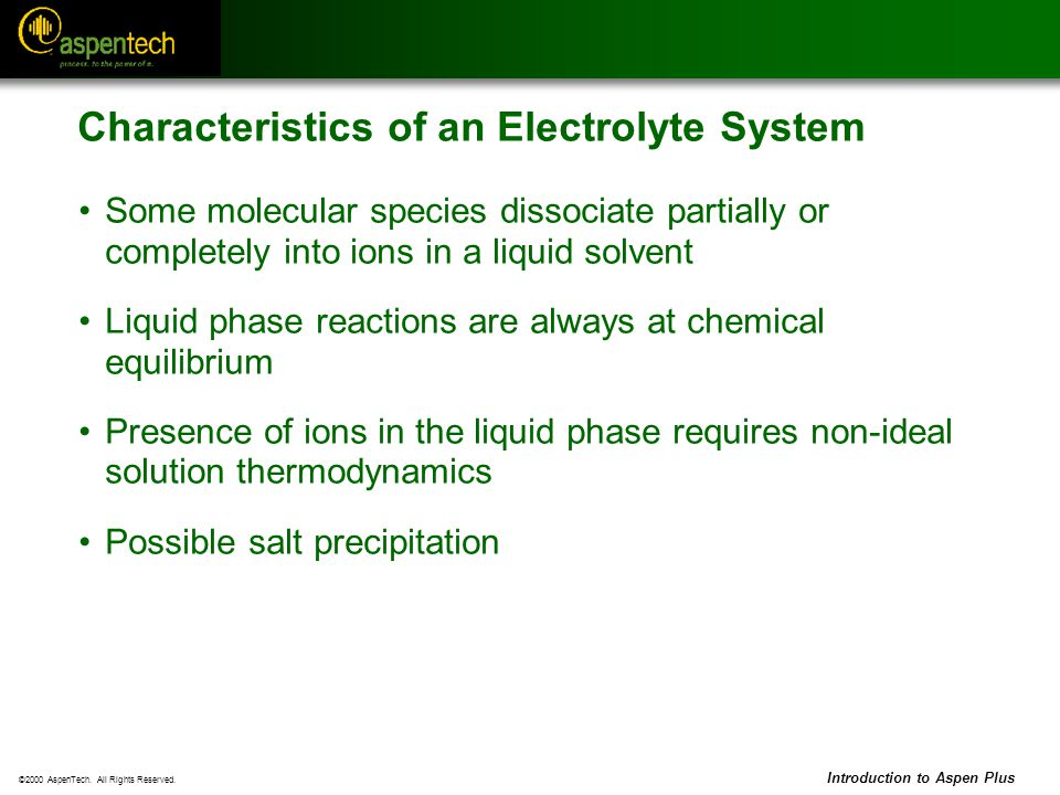 Characteristics of an Electrolyte System