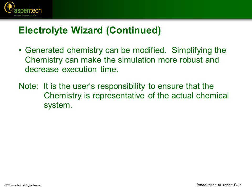 Electrolyte Wizard (Continued)