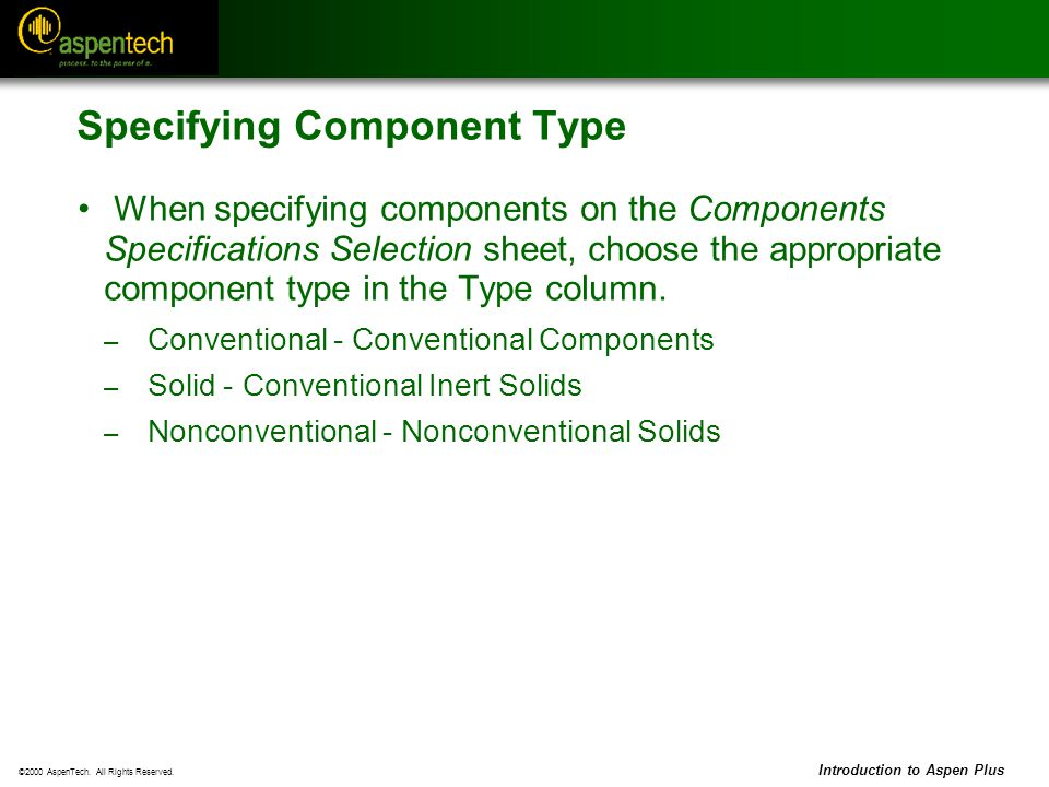 Specifying Component Type
