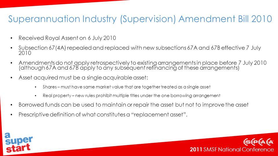 Superannuation Industry (Supervision) Amendment Bill 2010