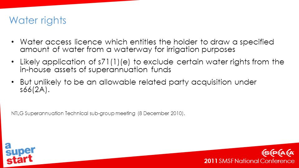 Water rights Water access licence which entitles the holder to draw a specified amount of water from a waterway for irrigation purposes.