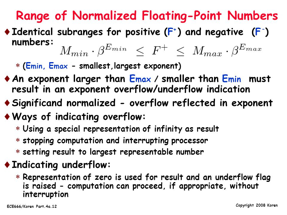 Range of Normalized Floating-Point Numbers
