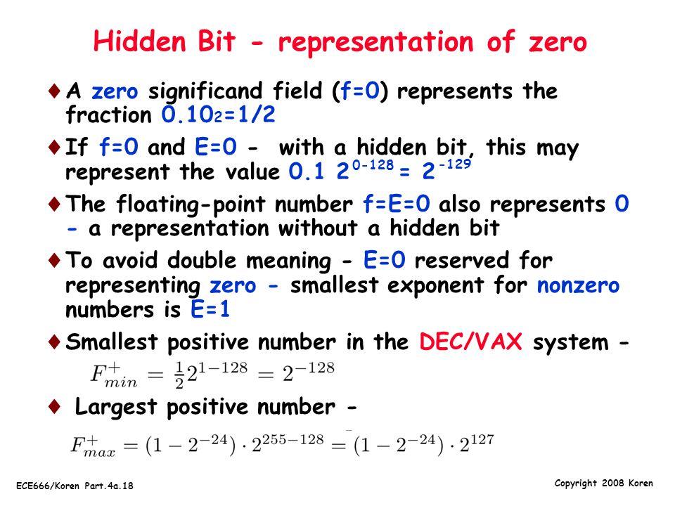 Hidden Bit - representation of zero