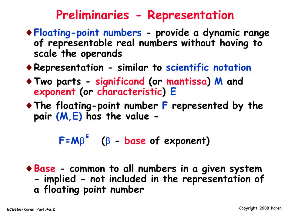 Preliminaries - Representation