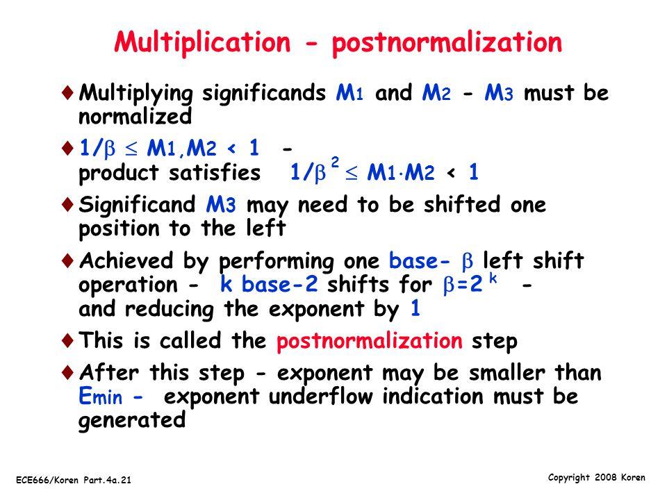 Multiplication - postnormalization