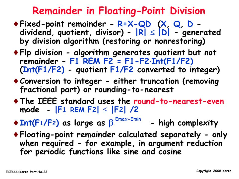 Remainder in Floating-Point Division