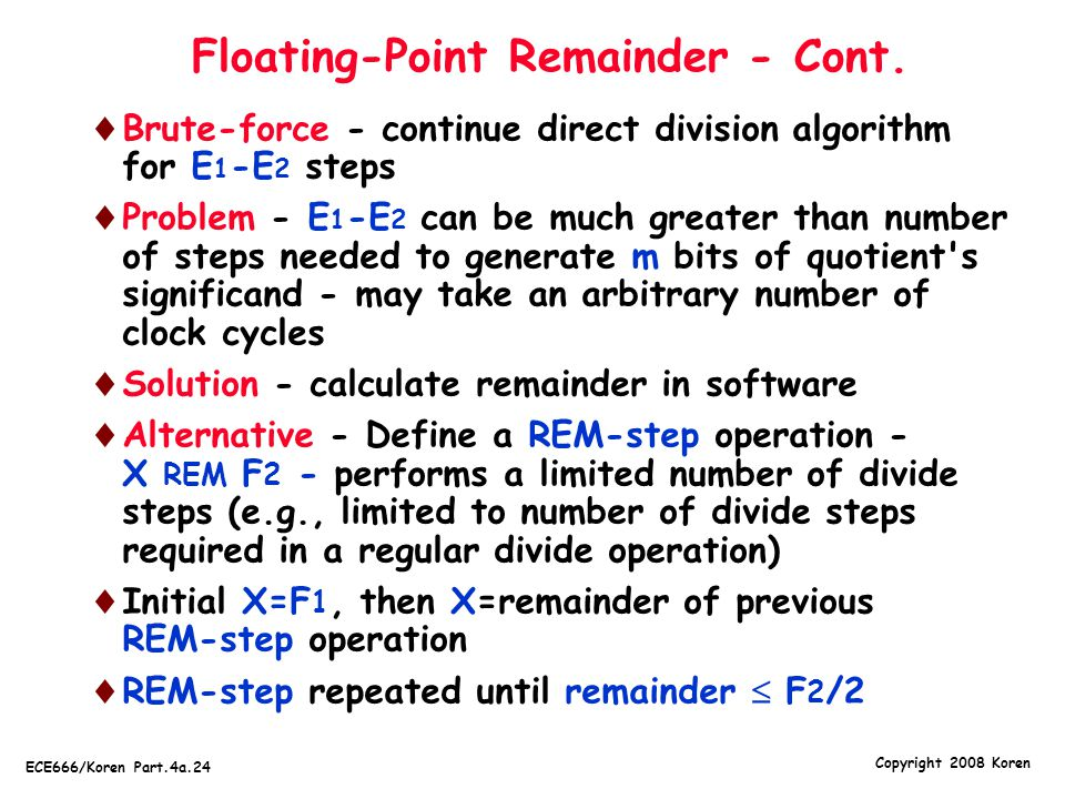 Floating-Point Remainder - Cont.