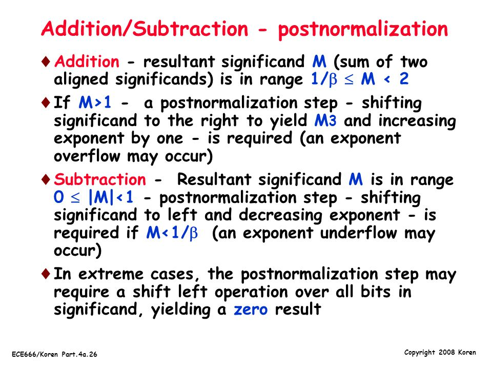Addition/Subtraction - postnormalization