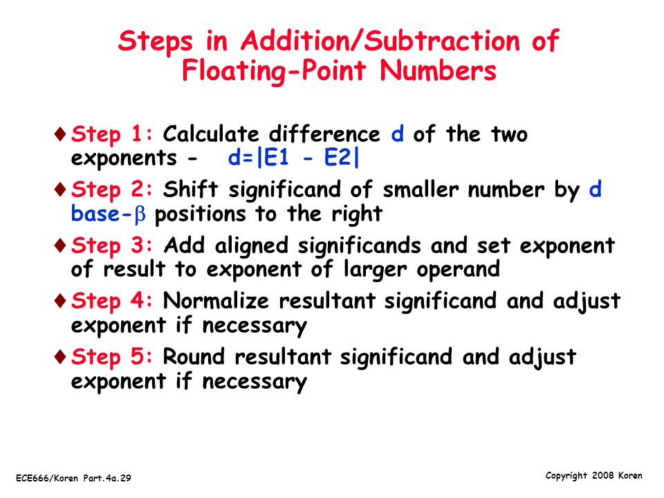 Steps in Addition/Subtraction of Floating-Point Numbers