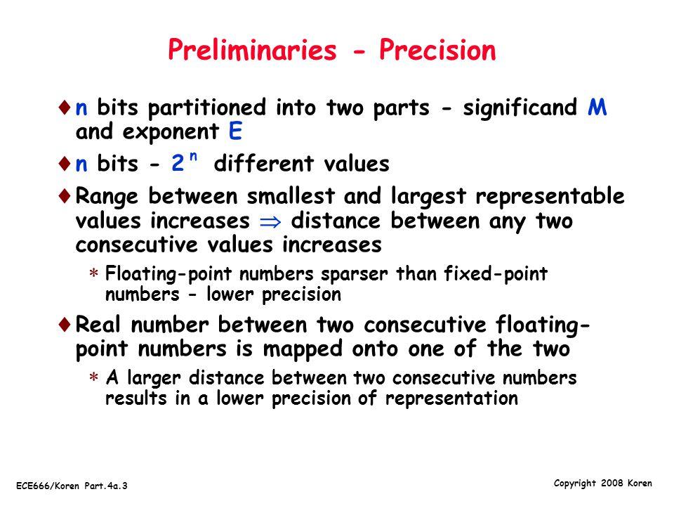 Preliminaries - Precision
