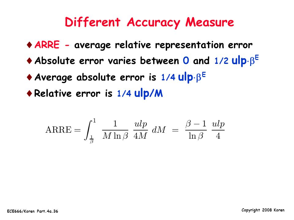 Different Accuracy Measure