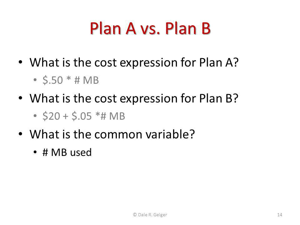 Plan A vs. Plan B What is the cost expression for Plan A