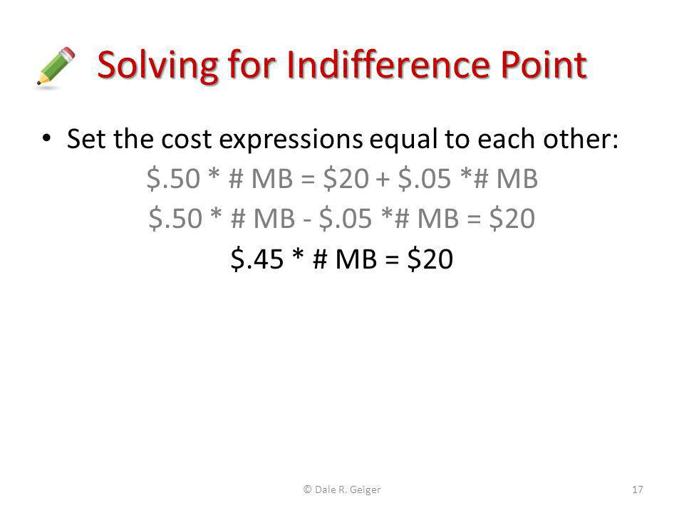Solving for Indifference Point