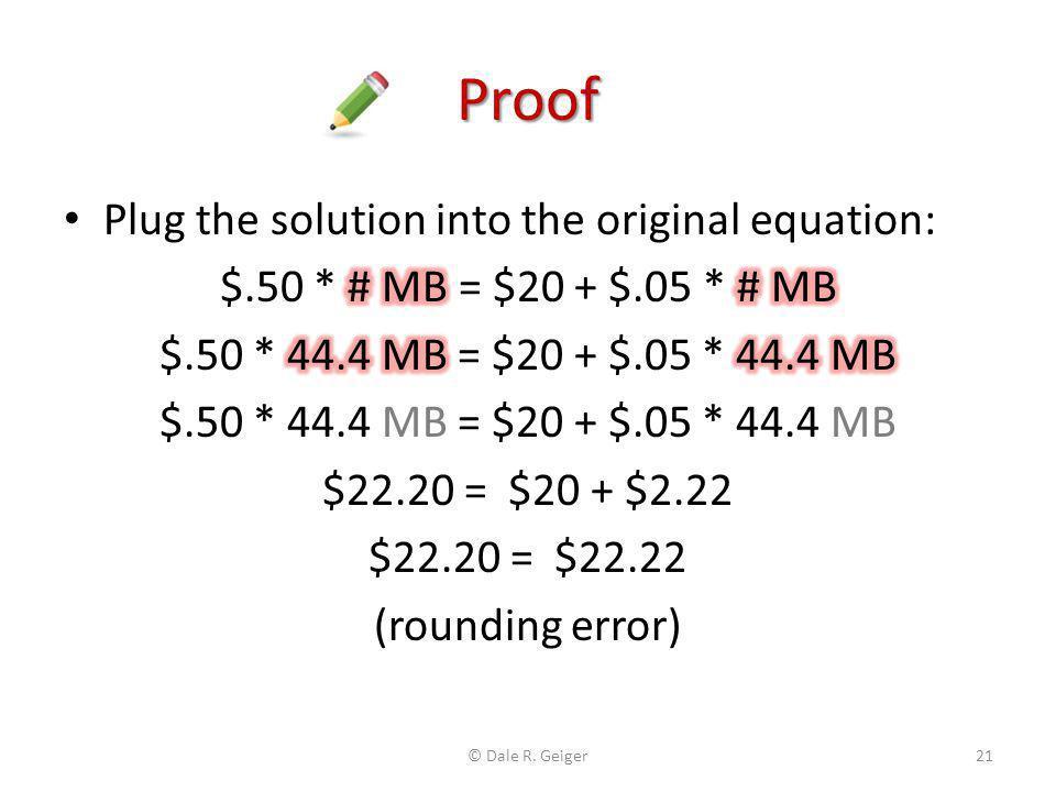 Proof Plug the solution into the original equation: