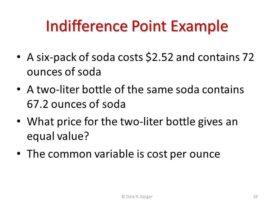 Indifference Point Example