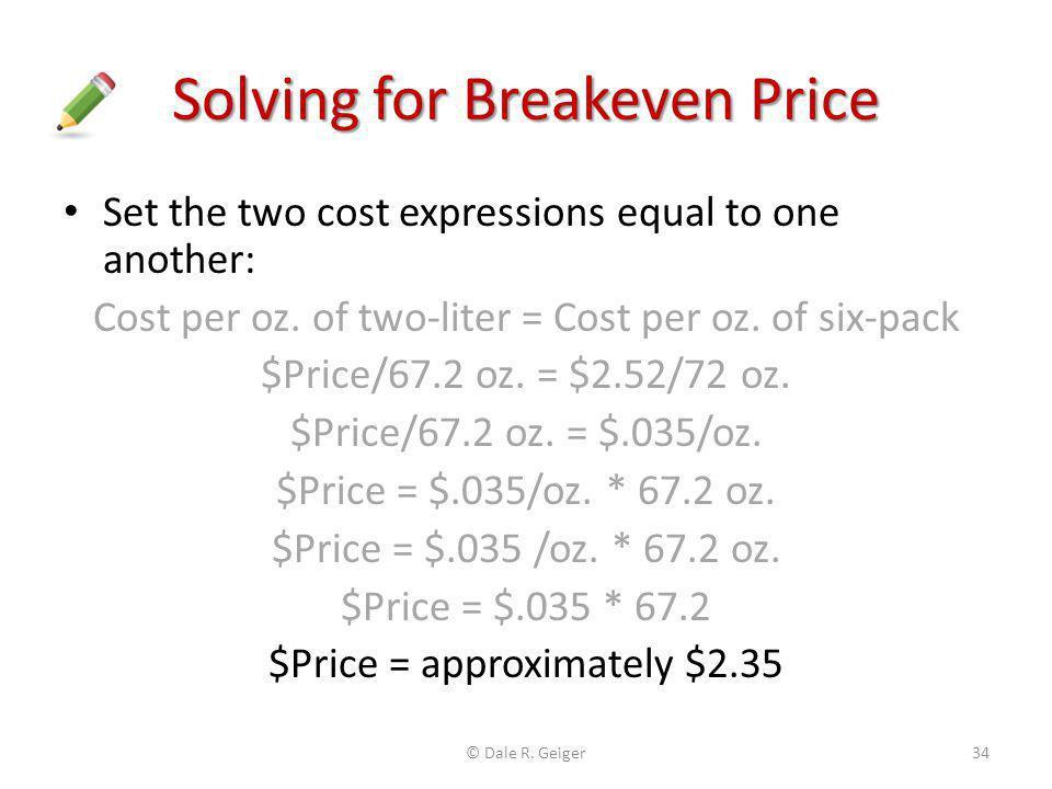 Solving for Breakeven Price