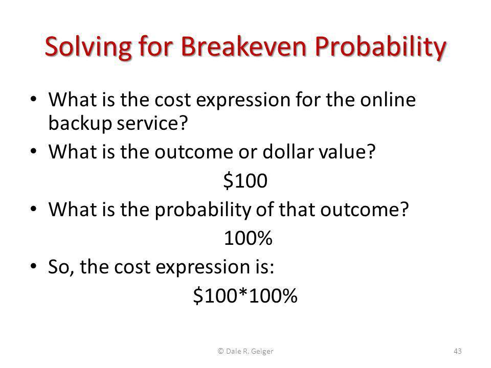 Solving for Breakeven Probability
