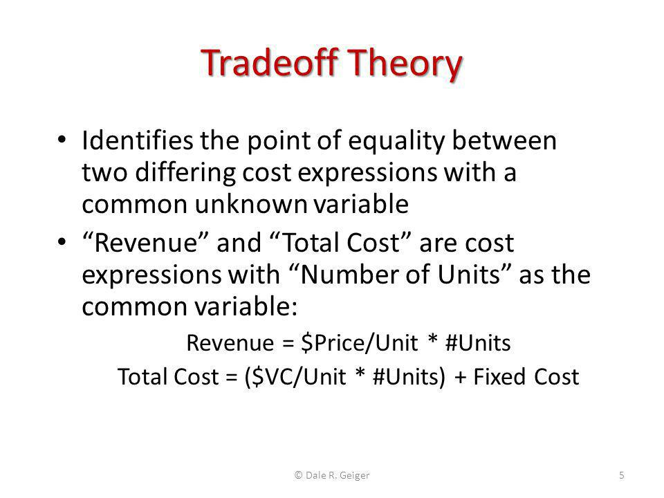 Tradeoff Theory Identifies the point of equality between two differing cost expressions with a common unknown variable.