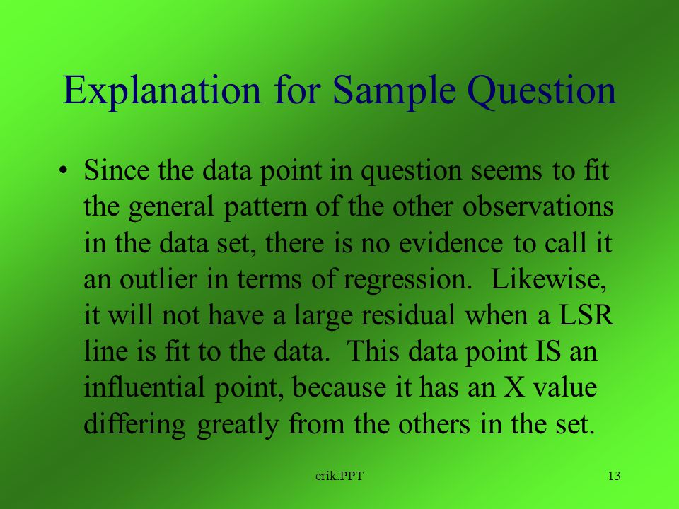 Explanation for Sample Question