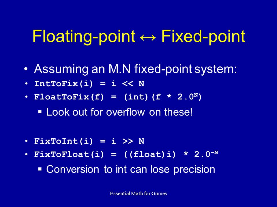 Floating-point ↔ Fixed-point