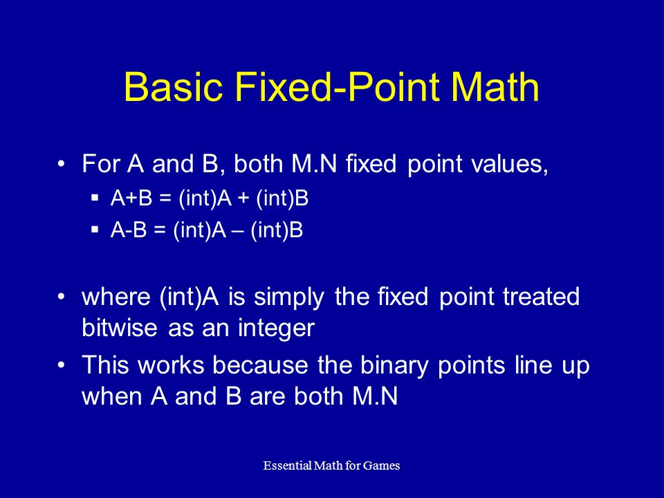 Basic Fixed-Point Math