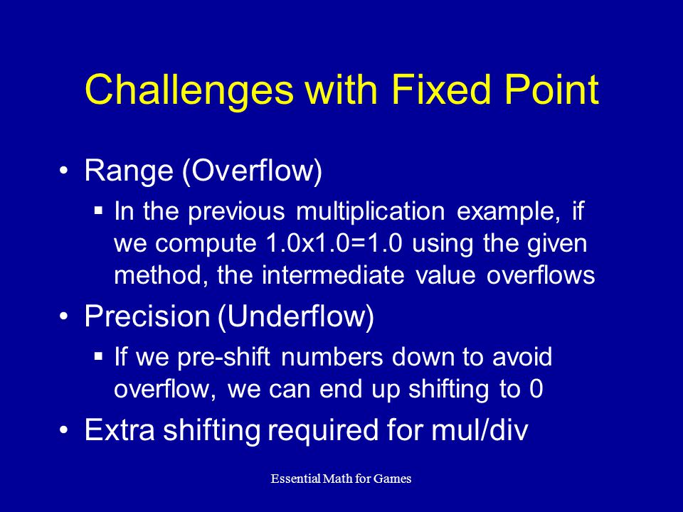 Challenges with Fixed Point