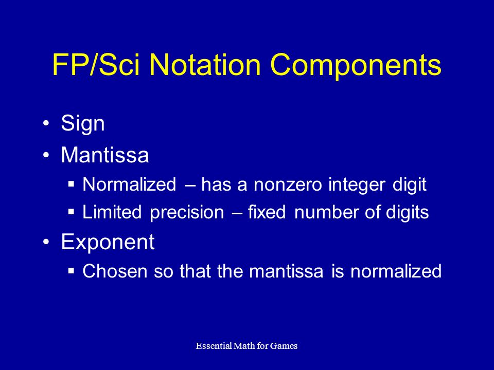FP/Sci Notation Components