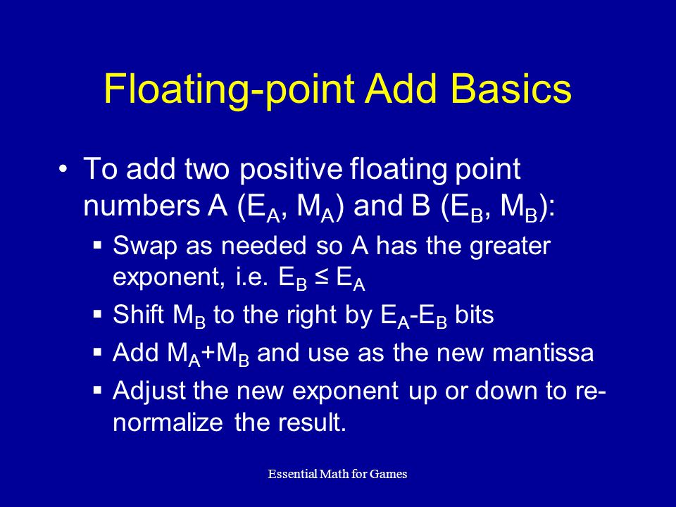 Floating-point Add Basics